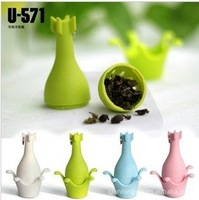 80pcs/lot DHL Free shipping Creative tea strainer Cute tea set Bomb/missile shape tea infuser pp+stainless steel chain
