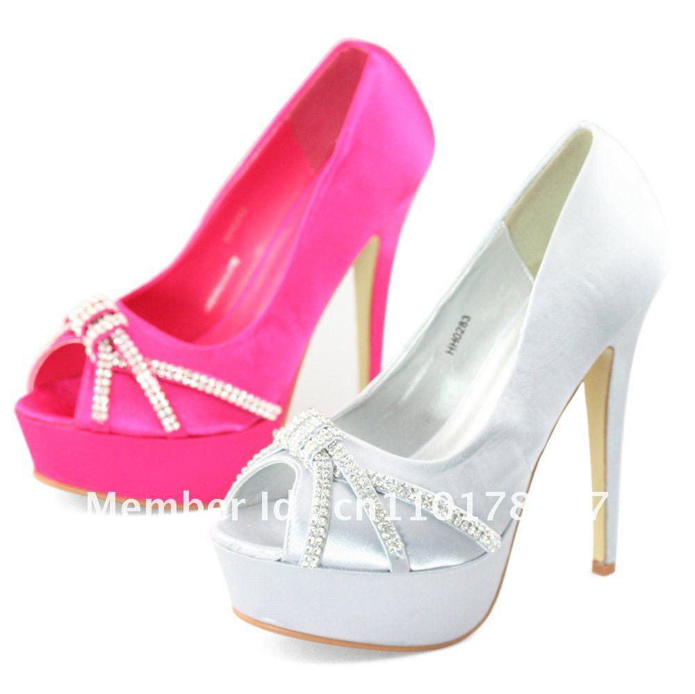 Shoezy luxueux. femmes argent et rose satin diamante. orteils ouverts plateforme pompes de soirée de mariage robe de bal de hauts talons
