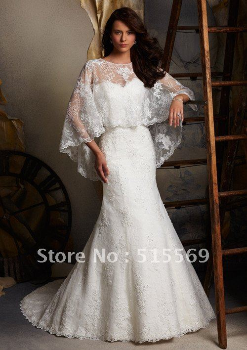 strapless a line tiered lace wedding gown with matching bolero ...