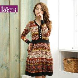 Free Shipping!New Autumn Vintage Women v-neck dress ,Plus size bohemia winter dress  Ladies maxi dresses long