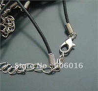 100pcs/lot 1.2mm Black Leather Ropes With Lobster Clasps Necklace Ropes Free Shipping s1226