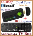 Free shipping UG007 Mini PC Android 4.1.1 TV Box Dual Core Cortex-A9 Rockchip 3066 1GB RAM 8G ROM HDMI USB + RC11 Air Fly mouse