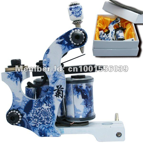 high quality blue and white porcelain tattoo machines free shipping 10 wraps hand polish alloy special design kits(China (Mainland))