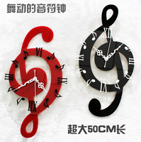 Musical note wall clock fashion clock rustic personalized big wall clock 50cm