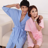 2012 waffle summer 100% cotton 100% cotton short-sleeve lovers bathrobe robe waste-absorbing