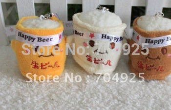 MIN Order. 15$, Size 6*4CM Cute Japan Beer Bottle Plush Mobile Charm Strap Cellphone Strap Phone Charm Lanyard Bag Chain Pendant
