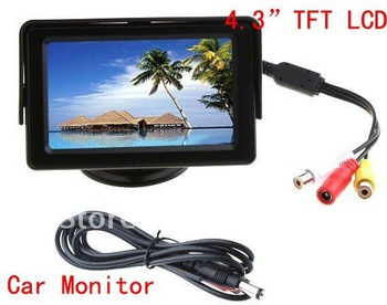 "4.3"" Color LCD Car Rearview Monitor with LED backlight for Camera DVD VCR,free shipping Wholesale"