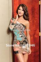 Free shipping - Asymmetric oblique half collar printing fashion lady dress fashion female dress design+Cheap retail