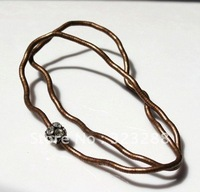 "Copper plus crystal stone bendy snake necklace, diameter 5mm, length 90cm(35""), free shipping"