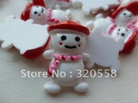 "New arrive 50pcs 1.2"" Christmas Q snowman Cabochons FlatBack Resins Scrapbooking Embellishment Free Shipping"