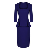 2012 fashion autumn winter women's elegant OL square collar ruffle 9/10 sleeve woolen peplum bodycon dress free shipping