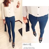 75 2012 vintage female brief dark color high waist jeans buttons elastic skinny pants pencil pants 500