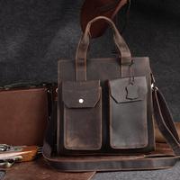 Double 11 big crazy horse leather handmade cowhide fashion commercial vintage genuine leather handbag one shoulder bag men