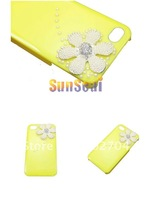 High Quality Luxury Bling Diamond 3D Rhinestone Flower Hard Case For Iphone 4 4S Yellow Color
