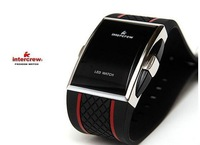 Free shipping, Wholesales Square Stainless Steel Back sports watch,Red LED Men's Digital Electronic LED Watch Red Light (Black)