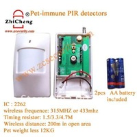 free shipping wireless PIR pet immune infrared sensor 433MHZ/ or 315MHZ  2262 IC