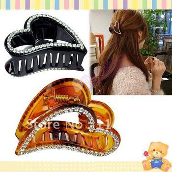 Fashion Women's Peach Heart Shape Rhinestone Hairpin Hair Clip Hair Claws 7542