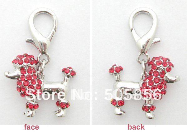 Free shipping!Red dog rhinestones poodle charm,pet jewelry,dog collars charm(China (Mainland))