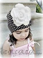 FREE SHIPPING---Children's hats kinttde hats beautiful white big flowers decoration dot design crochet caps 1pcs/lot
