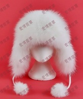 Black, white Genuine Fox Fur Thicken Russian Trapper Fur Hats, Winter Warm Bomber Visor with Ear Flaps Fur Hats Women