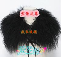 Free shipping, 2012 mongolian wool fur collar scarf cape