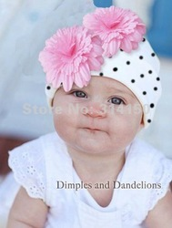 FREE SHIPPING---Novelty flower hats baby infant caps knitting wool hat cotton dot design white cap with pink big flower 1pcs/lot(China (Mainland))