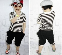 In stock - Free shipping whole suit 2012 baby boys striped clothing set 2pcs suit (T-shirt+pant) summer clothing set boy wear(China (Mainland))