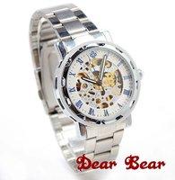 Men Skeleton Mechanical Watch Metal,  6 pcs/lot