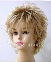 Fashion blonde short curly full wig +gift