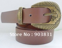 free shipping Hot sell  fashion anti brass western buckle pu belt, jean belt for women& men