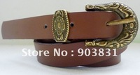 free shipping hot sell  2cm width fashion western buckle with anti brass plating pu belt, jeans belt