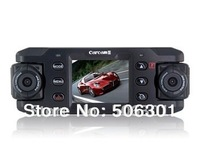 Free shipping + CARCAM Dual-Lens Multifunctional Car Recorder with Night Vision Microphone LED Indicator (Black)