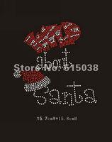 Free shipping 35pcs/Lot Wild about Santa iron on rhinestone transfers design ,MOQ(30pcs)&custom design is welcome