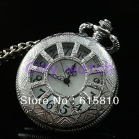 (WA001) Hot New Roman Necklace Silvery Chain For Xmas Gift Mini Vintage Style Men Ladies Women Quartz Pocket Watch