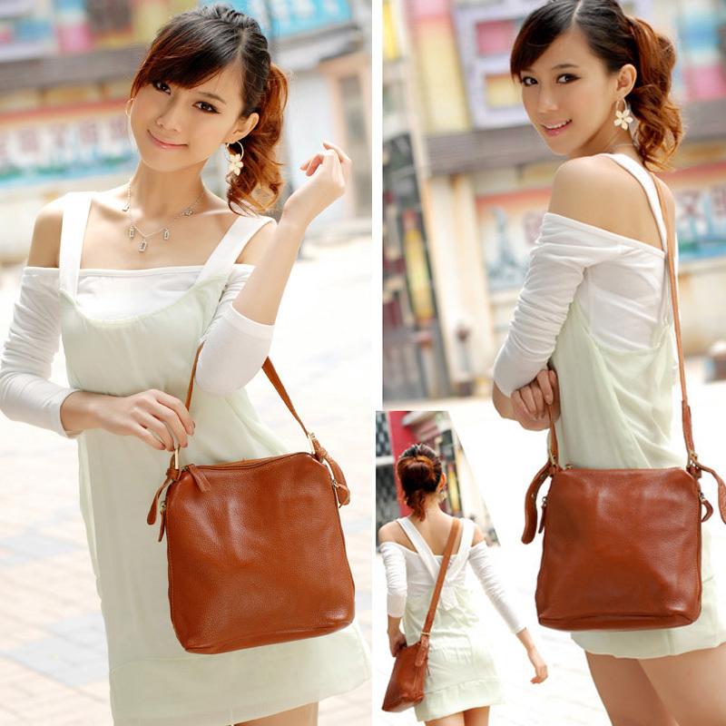 Free shipping- hot-selling women's handbag genuine leather handbag messenger bag shoulder bag(China (Mainland))