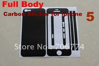 Hot Sale Front & Back full body Decal carbon fiber vinyl sticker for Apple iPhone 5 New 30pcs/lot free shipping