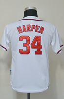 #34 Bryce Harper Kids Youth Authentic Home White Cool Base Baseball Jersey