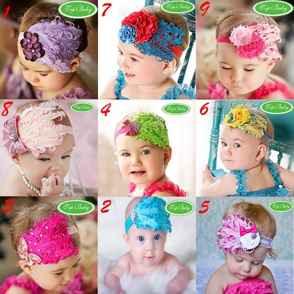 The Newest Christmas Feather And Rhinestone Headband Baby Headbands Baby Hair Band / Headwear 9 Designs Free Shipping(China (Mainland))