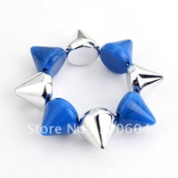 2014 newest design Cheap wide  Stylish wide Spike Rivets Punk Bangle for women orignal from factory