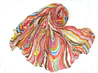 Blue 2012 autumn and winter colorful stripe scarf for women's cape cotton freeshipping