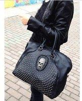 free shipping ladies fashion skull designer handbags 2013 new women leisure messenger bag black PU leather retro shoulder bag
