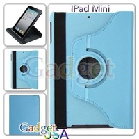 For ipad mini 360 Rotating Leather Case Smart Cover Stand  DHL Free 30pcs /lot