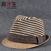 2012Free shipping  wool felt hat fashion paragraph male jazz hat women's trend stripe knitted small fedora hats for winter