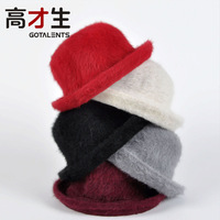 Free shipment solid color small fedoras rabbit fur vintage hat women's wool felt hat for winter