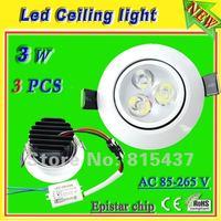 recessed light fitting_free shipping 3 x 1 watt led ceiling lighting lamp warm/cool white