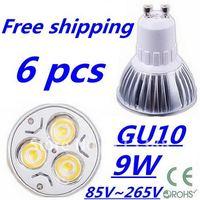 6pcs/lot CREE High power GU10 3x3W 9W 85V~265V led Light Lamp Downlight led bulb spotlight Free shipping