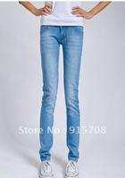 3 breasted mid waist elastic jeans female slim pencil skinny pants plus size 2012
