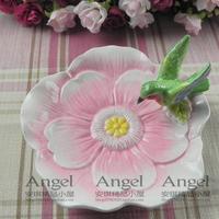 Home gifts rustic swordbill flower ceramic dessert plate fruit plate