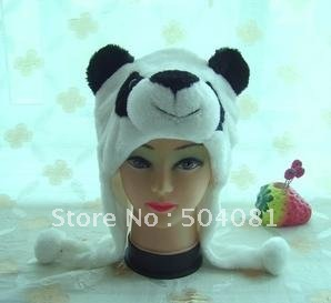 FREE Shipping Christmas WINTER cosplay Beanie/ hat / cute Fluffy Plush Earmuff  Warm Panda hats animals performances props cap
