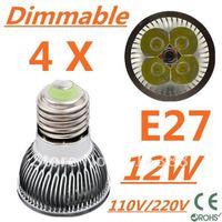 4pcs/lot CREE Dimmable LED High power E27 Base 4x3W 12W led Light led Lamp led Downlight led bulb spotlight Free shipping